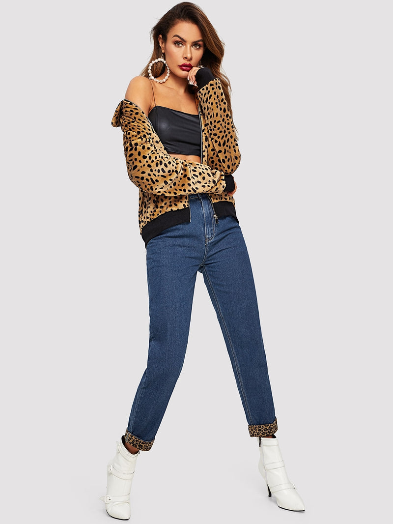 Zip Up Leopard Print Teddy Jacket