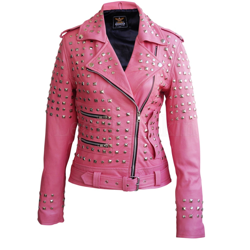 Women Pink Spike Studs Leather Jacket