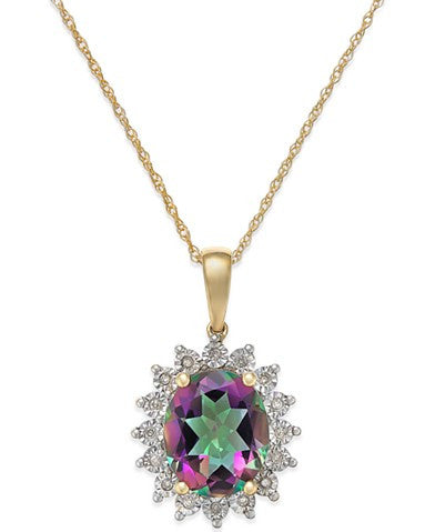 Mystic Topaz (4 ct. t.w.) and Diamond Accent Pendant Necklace in 14k Gold