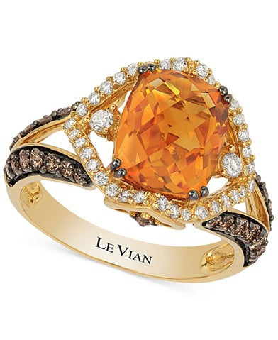 Le Vian Chocolatier® Citrine (2-2/3 ct. t.w.) and Diamond (3/4 ct. t.w.) Ring in 14k Gold