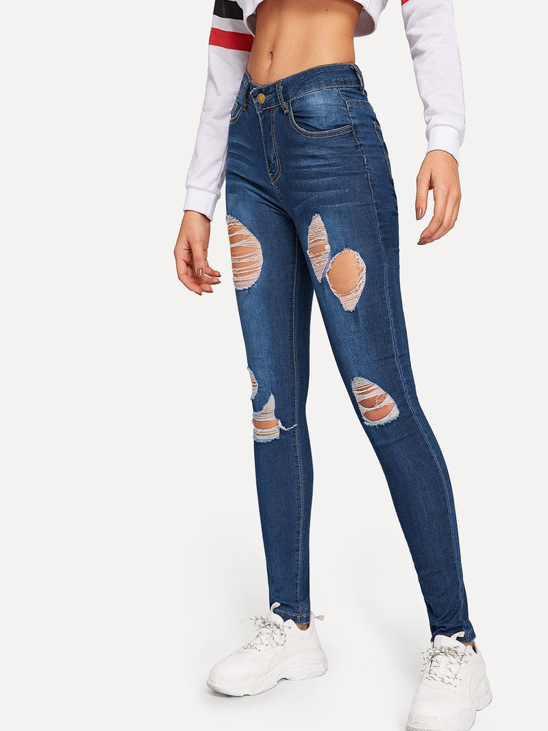 Ripped Detail Bleach Wash Skinny Jeans