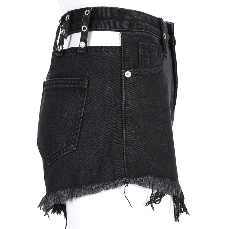 Punk Summer Denim Shorts Women Sexy Hollow Back Short Streetwear High Waist Short Pants