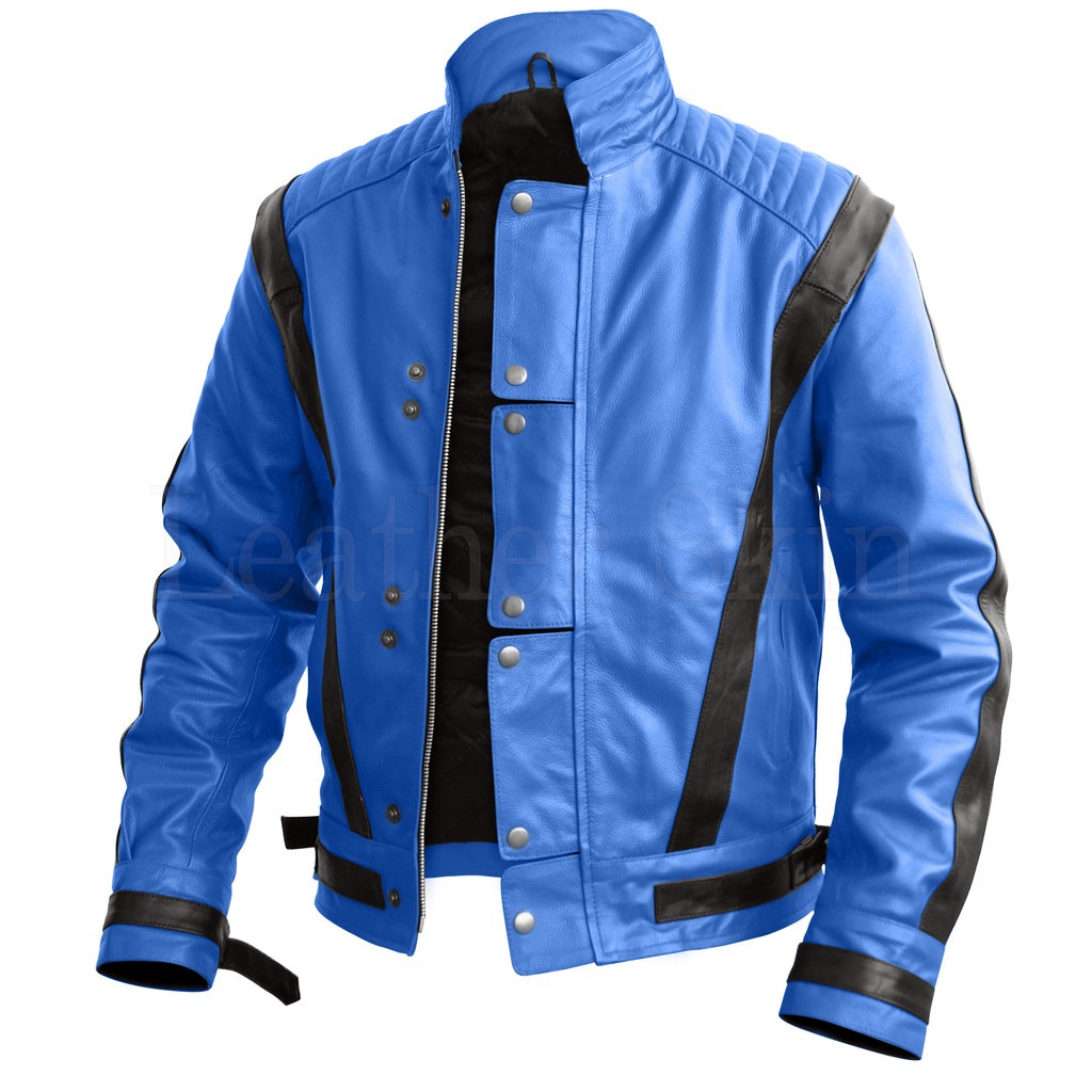 1985 Style Men Blue Leather Jacket.