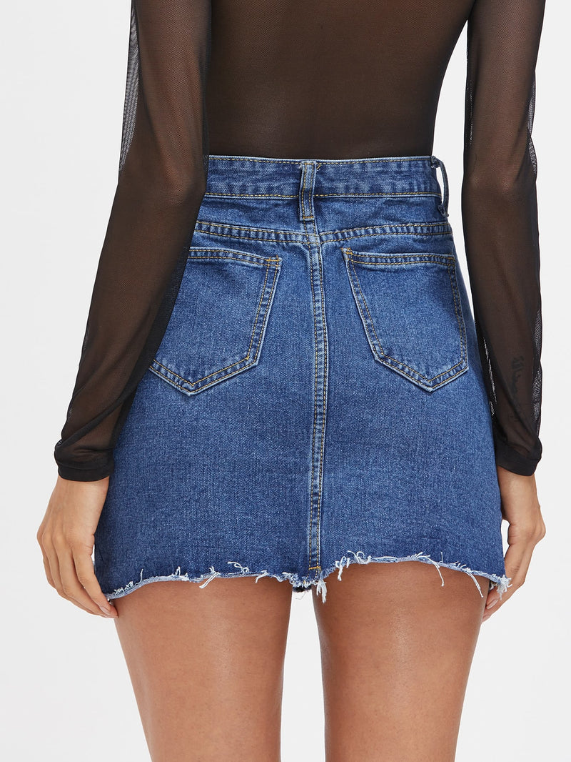 Destroyed Fishnet Insert Fray Trim Denim Skirt