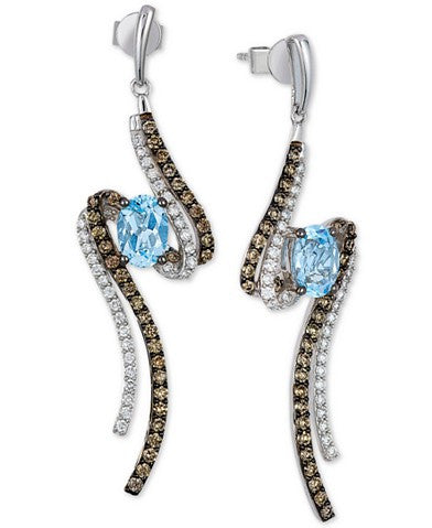 Le Vian Blue Topaz (1-5/8 ct. t.w.) and Diamond (1 ct. t.w.) Drop Earrings in 14k White Gold