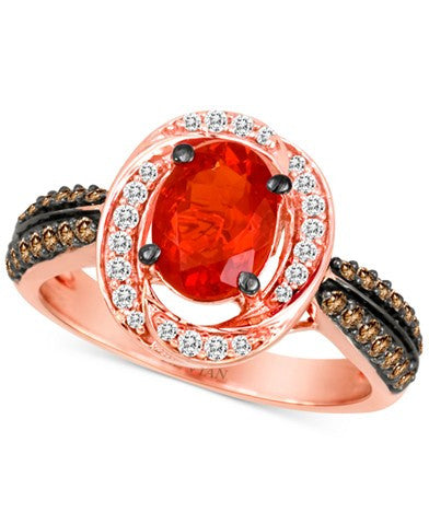 Le Vian Chocolatier® Fire Opal (5/8 ct. t.w.) and Diamond (3/8 ct. t.w.) Ring in 14k Rose Gold
