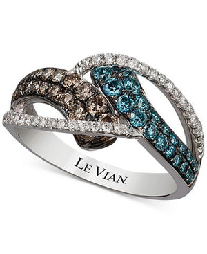 Le Vian Exotics® Gladiator® Blue, Chocolate and White Diamond Ring (9/10 ct. t.w.) in 14k White Gold