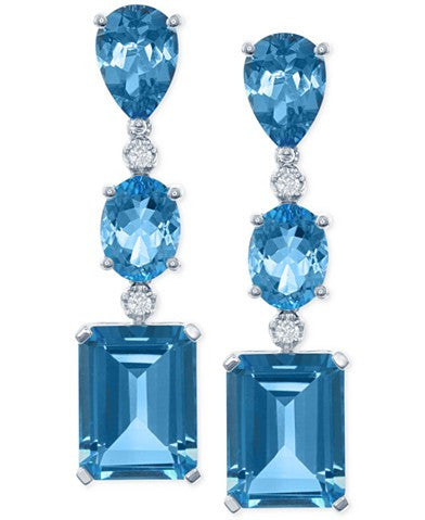LALI Jewels Blue Topaz (19-3/4 ct. t.w.) and Diamond (1/8 ct. t.w.) Drop Earrings in 14k White Gold