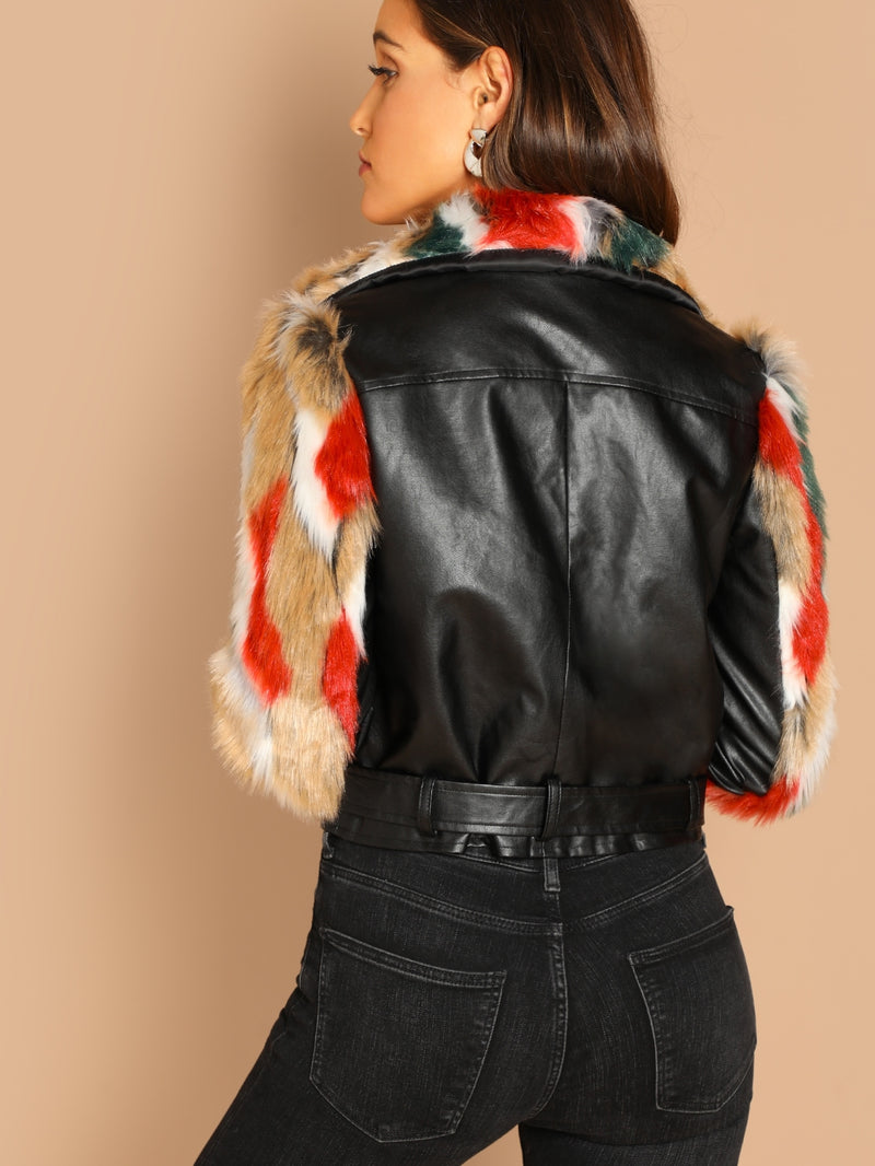 Faux Fur Sleeve And Collar Biker Jacket