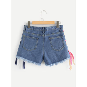 Criss Cross Side Ripped Denim Shorts.