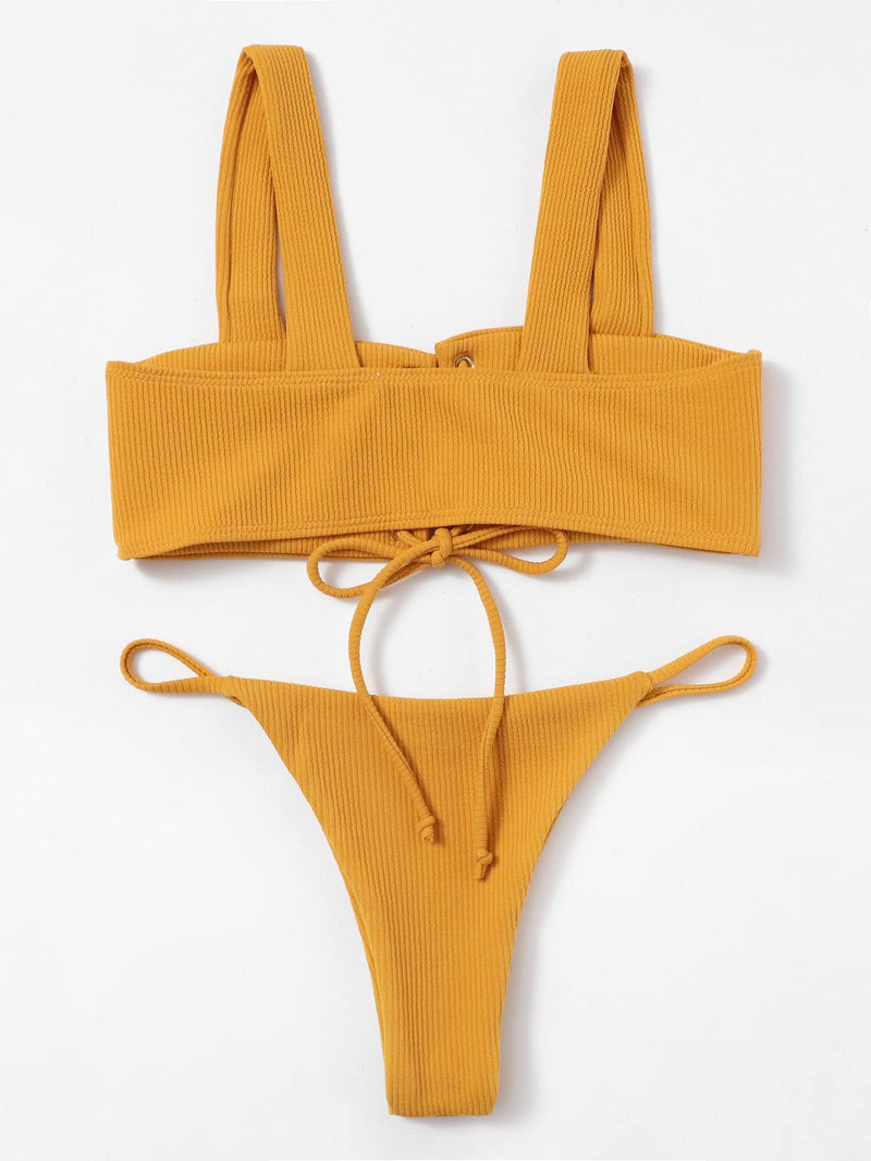 Lace Up Ribbed Bikini Set