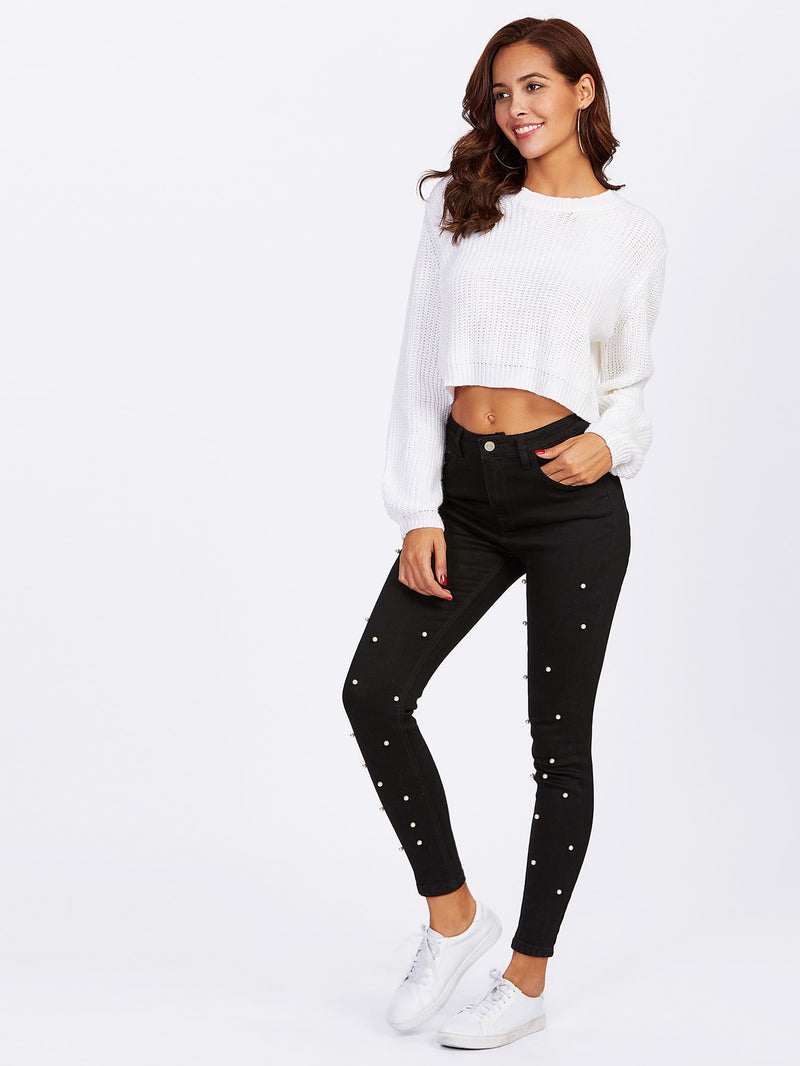 Pearl Beaded Front Jeans fit for a queen