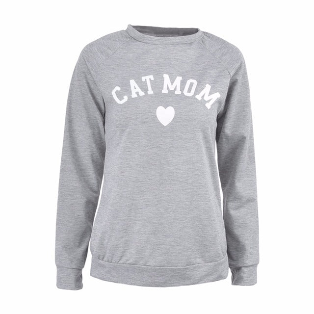 CAT MOM Heart Print Hoodies Women's Autumn Winter Fashionable Long Sleeve Casual Sweatshirt