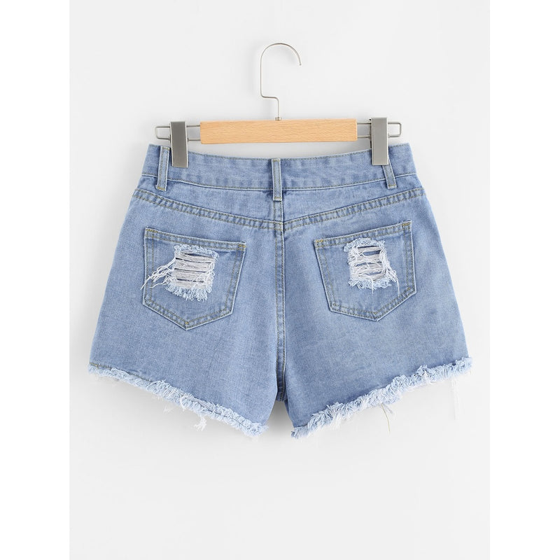 Ripped Raw Hem Denim Shorts.