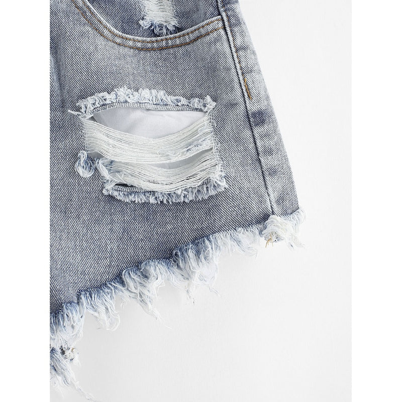 Raw Hem Ripped Denim Shorts.