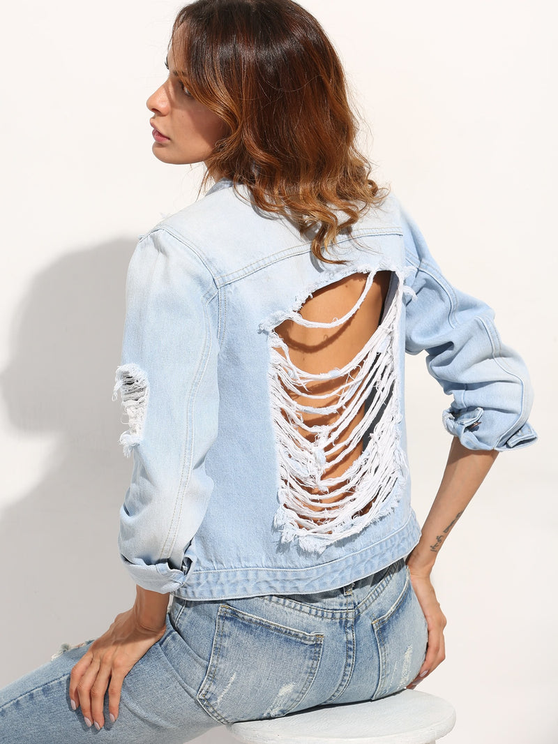 Bleach Wash Extreme Destroyed Denim Jacket