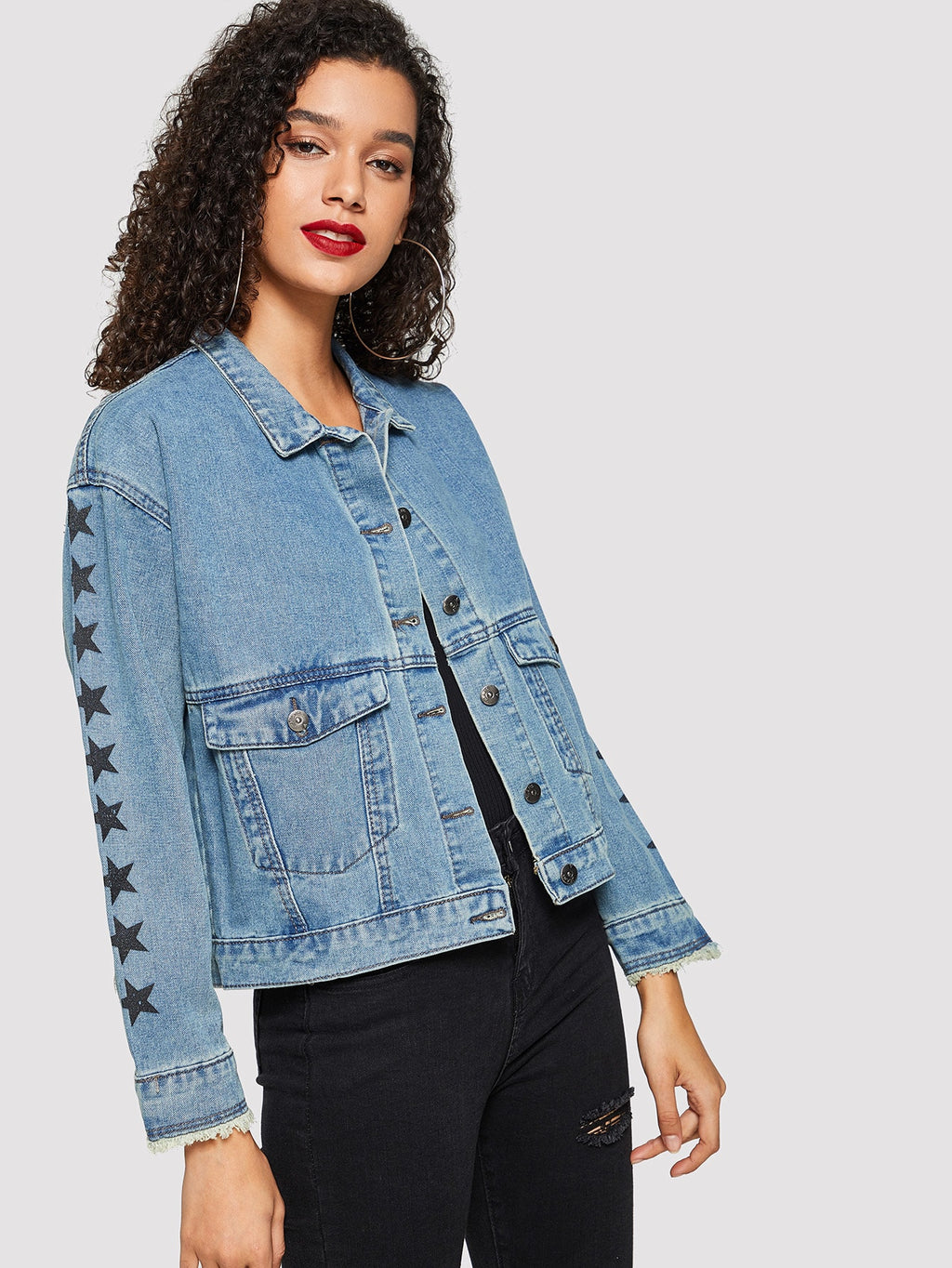 Star Print Pocket Detail Denim Jacket