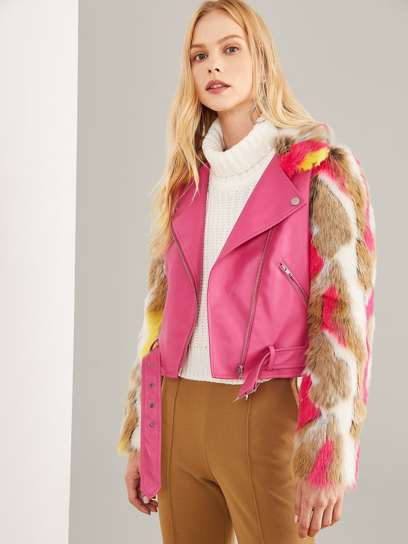 Neon Pink Zip Front Belted Soft Faux Fur Contrast Jacket