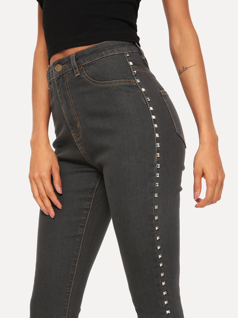 Studded Detail Raw Hem Jeans