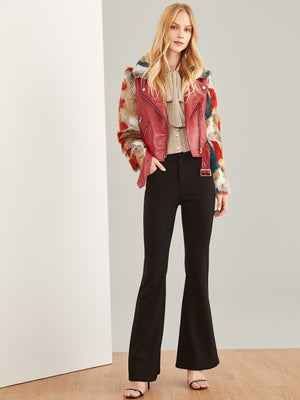 Zip Front Belted Soft Faux Fur Contrast Jacket