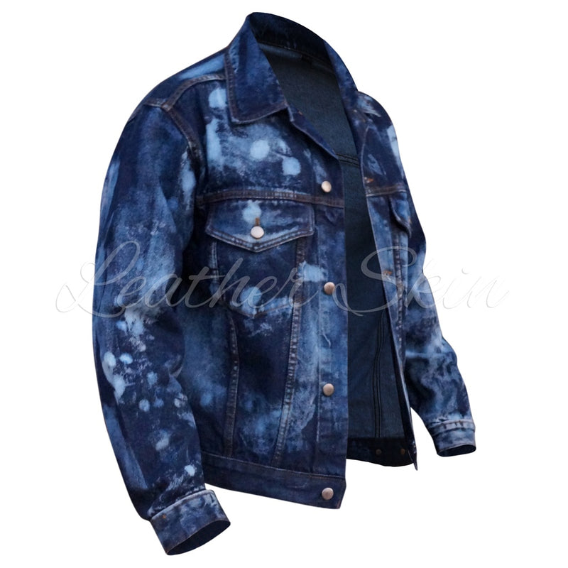 Leather Skin Men Denim Jacket.