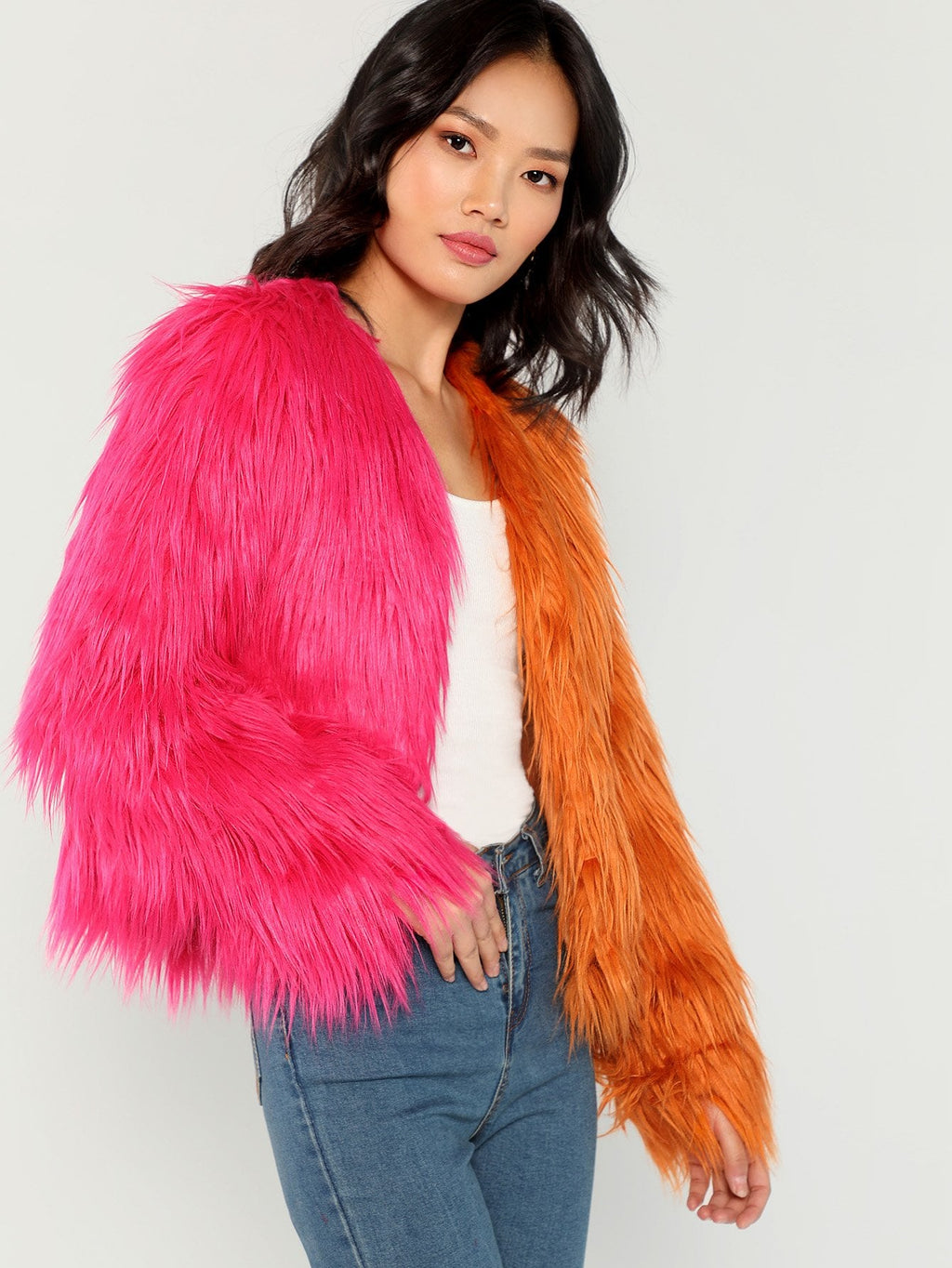 Two Tone Faux Fur Teddy Coat