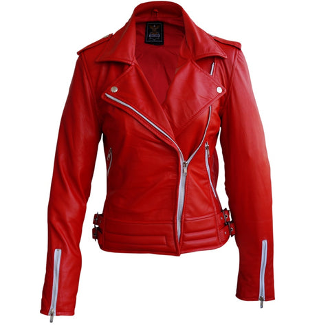 Women Pink SoftShell Genuine leather Jacket.