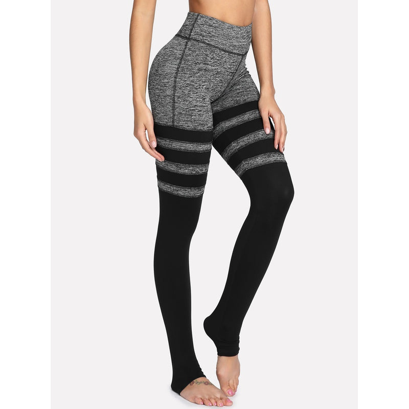 Two Tone Striped Stirrup Leggings.