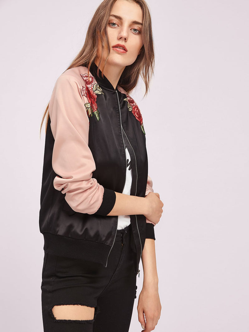Symmetric Embroidery Patch Contrast Raglan Sleeve Bomber Jacket