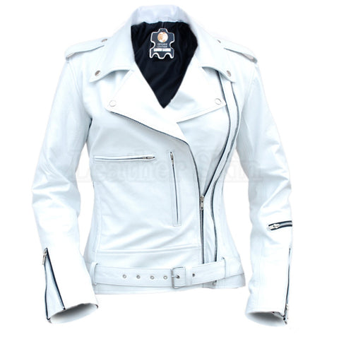 Women Black White Heart Leather Jacket