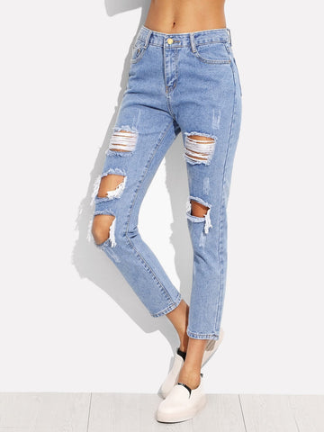 Light Wash High Waisted Distressed Denim Jeans