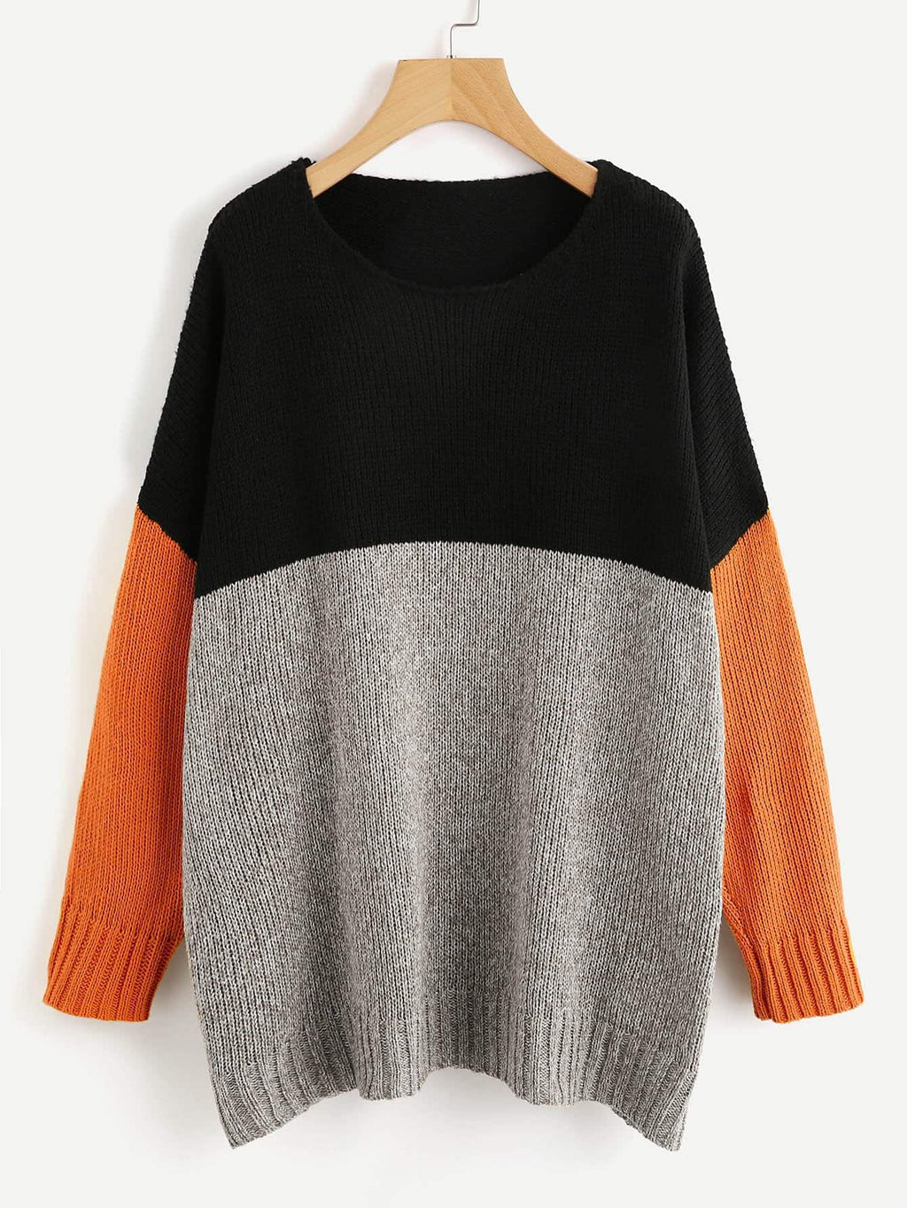 Color Block Longline Jumper Orange
