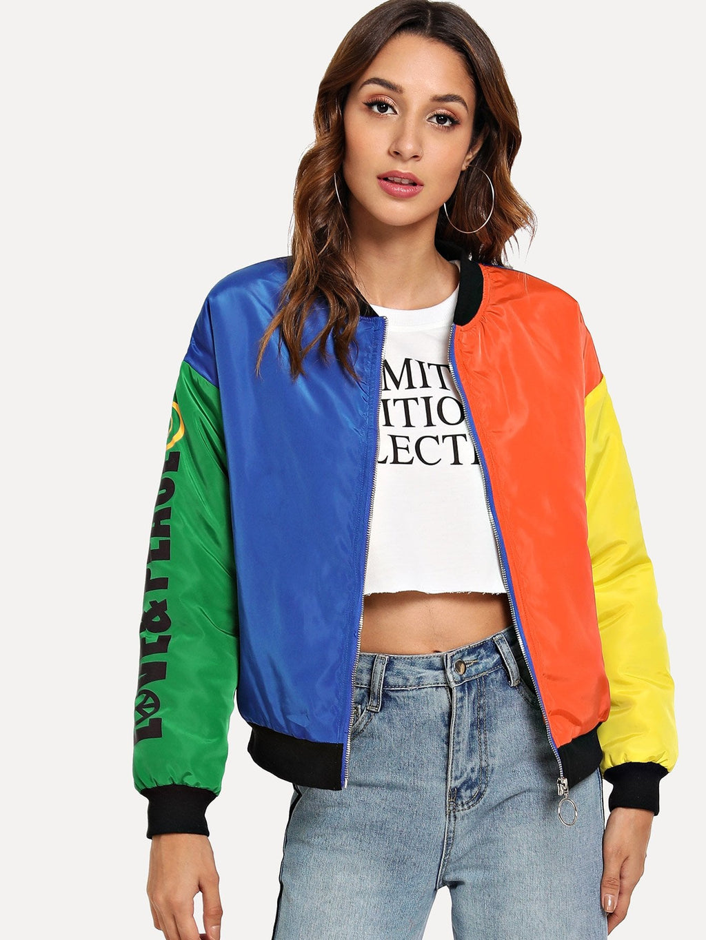 Zip Front Color Block Jacket