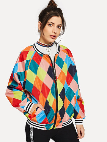 Zip Up Faux Fur Sleeve Plaid Notched Coat