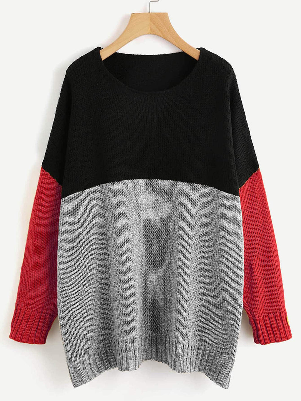 Color Block Longline Jumper Red.