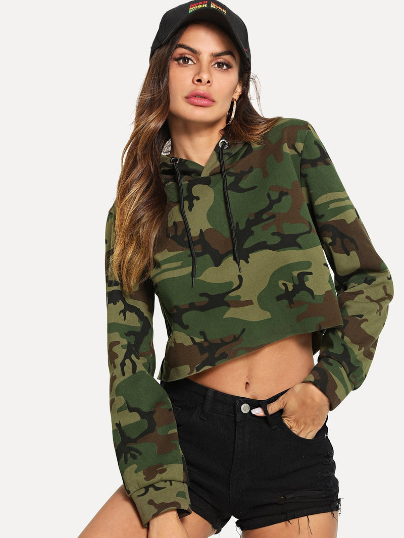 Camo Print Hooded Sweatshirt