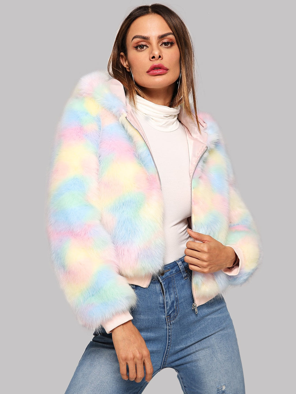 Zip Up Colorful Faux Fur Teddy Coat