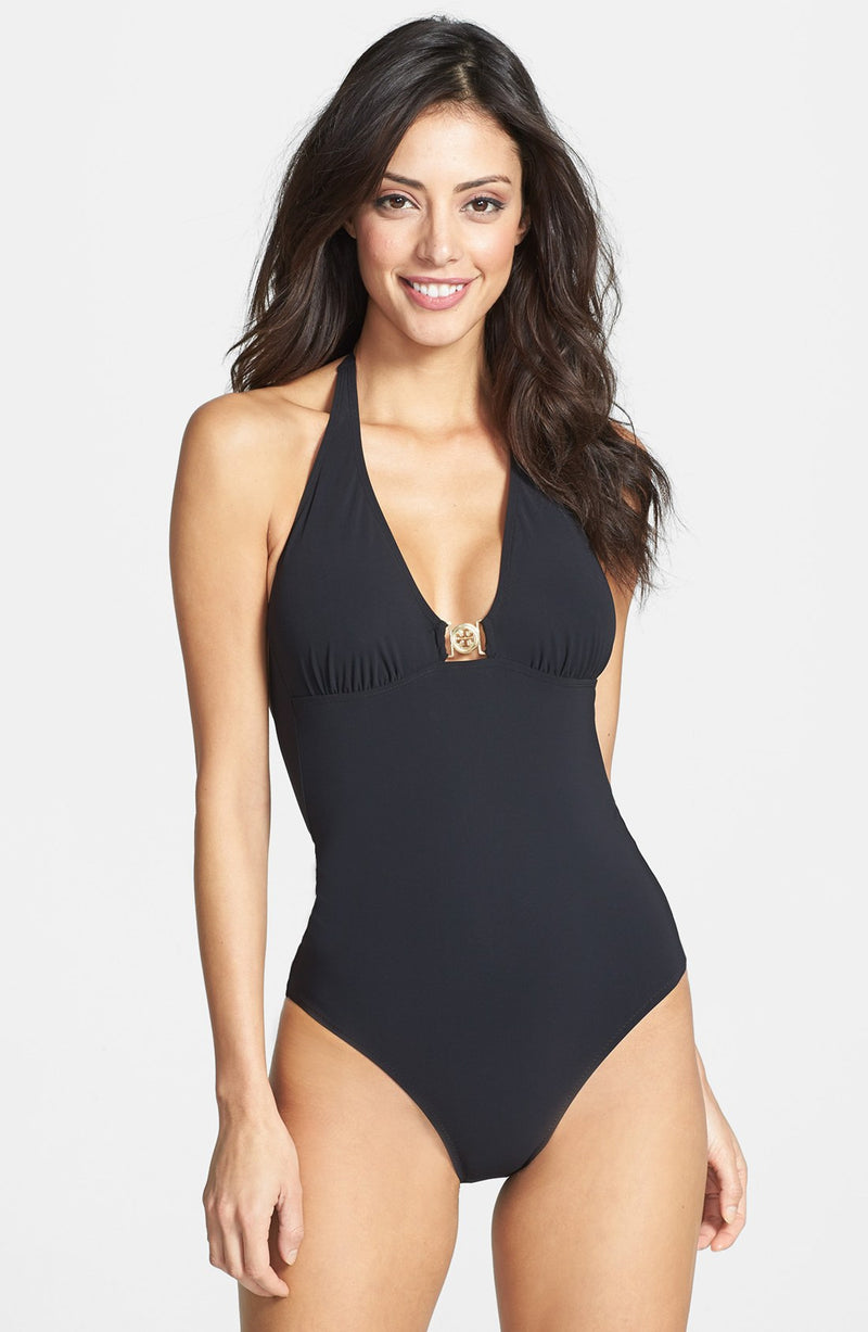 Logo Halter One Piece Swimsuit