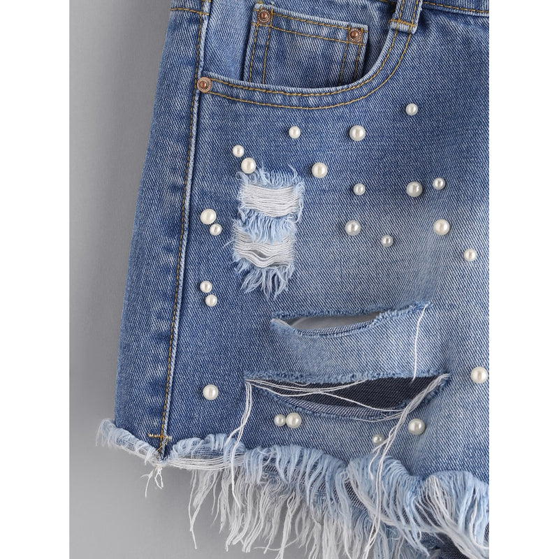 Faux Pearl Beading Distressed Denim Shorts.