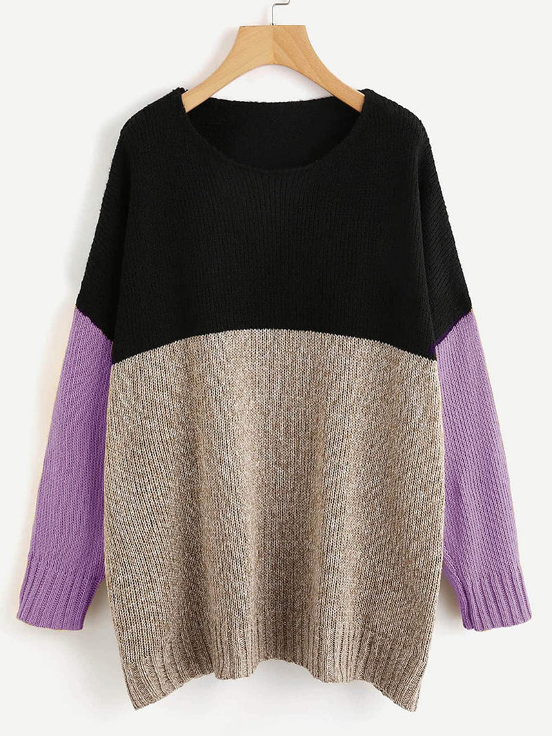 Color Block Longline Jumper Purple.
