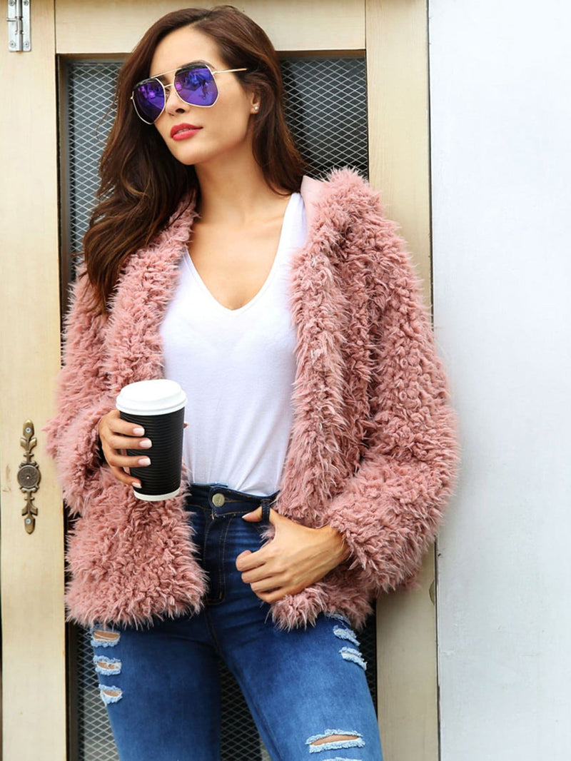 Solid Fuzzy Hooded Teddy Coat