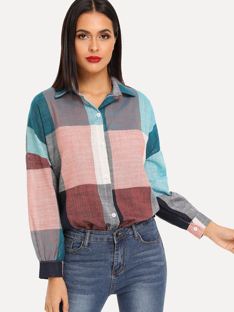 Colorblock Drop Shoulder Single Breasted Blouse