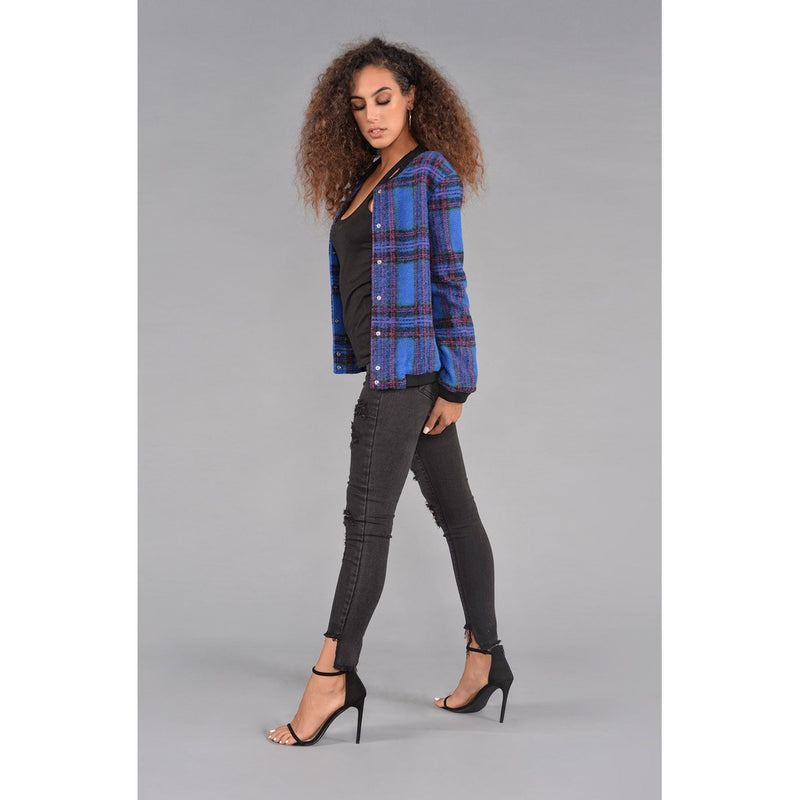 Plaid Print Bomber Jacket.