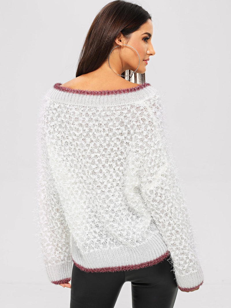 Contrast Binding Ribbed Trim Sweater
