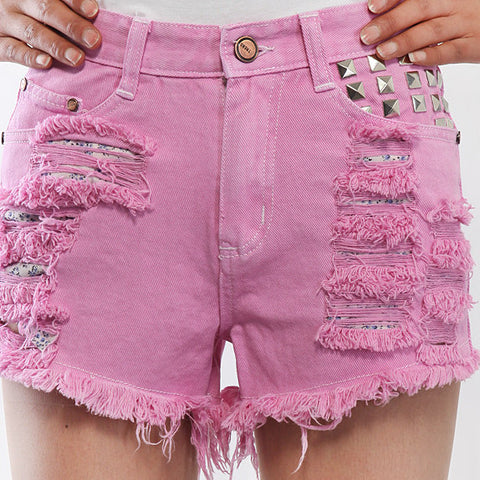 Mystery Queen Bee Studded High Waist Shorts, All Sizes