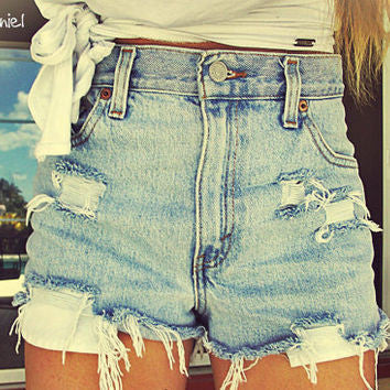 Mystery DISTRESSED High or Lower Waisted Shorts / Cute Denim Shorts: All Sizes