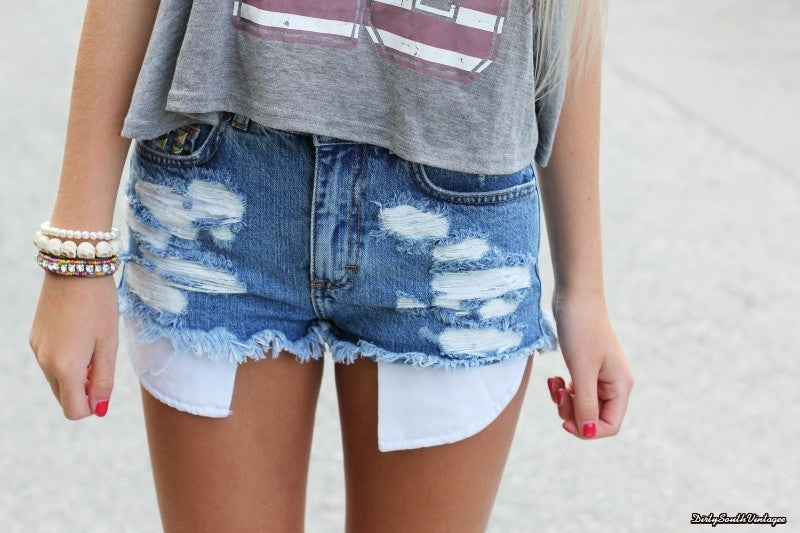 Mystery DISTRESSED High Waisted Shorts / Sexy Denim Jean Shorts For Summer: All Sizes