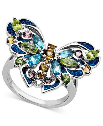 Town & Country Sterling Silver Ring, Multistone Butterfly Ring (1-13/15 ct. t.w.)