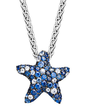 Sapphire Splash by EFFY Multicolor Sapphire Pave Starfish Pendant Necklace in Sterling Silver (2-3/4 ct. t.w.)