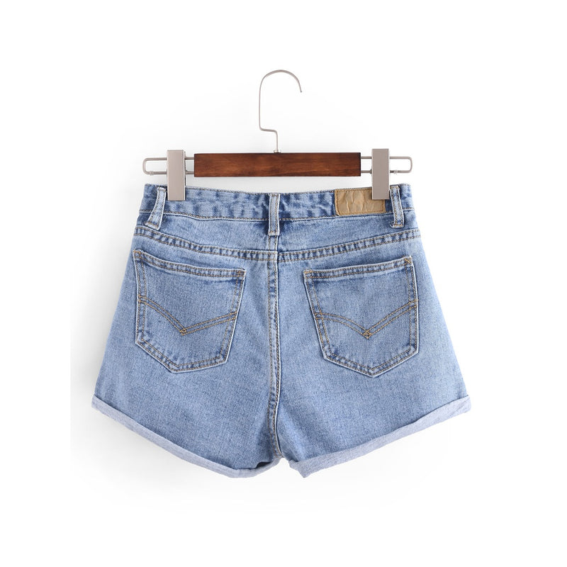 Ripped Rolled Hem Denim Shorts.